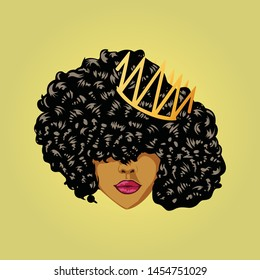 Black Girl with Crown and curly hairstyle illustration, African woman With Curly hair illustration - VECTOR