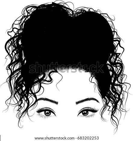 Black Girl Cute Bun Hairstyles Stock Vector Royalty Free 683202253