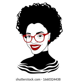 Black girl in fashionable glasses. Fancy black lady. Pretty african american woman. Vector illustration