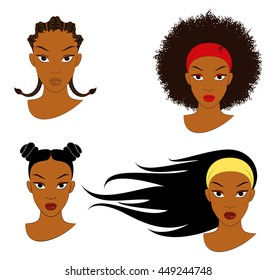 Black Girl Hair Styles. Vector Illustration Of Four Different Hair Styles For Young Girls