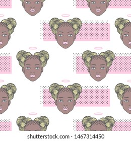 Black girl head with angel halo seamless vector pattern. Young african woman face portrait, space buns afro braid hairstyle. Trendy dots, dotty texture. Beauty shop, fashion fantasy background concept