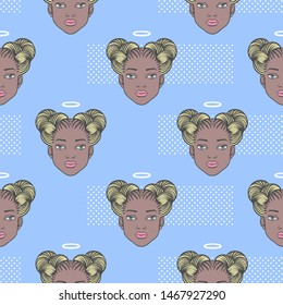 Black girl head with angel halo seamless vector pattern. Young african woman face, space buns afro braids hairstyle. Beauty shop, fashion fantasy background, makeup paint decorative cosmetic concept