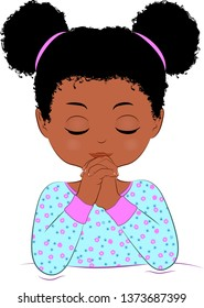 Black girl praying before she goes to bed, illustration, cute, big hair, dressed in her pajamas.