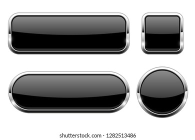 Black glass 3d buttons. With chrome frame. Set of web icons. Vector illustration isolated on white background