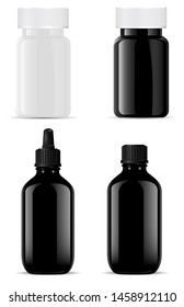 Black Glass Bottle. cosmetic Essential Oil. Pill Jar 3d mockup. Plastic Medical Supplement Capsule Container. Pharmacy Tablet Can. Realistic Collection Set of Medication Package