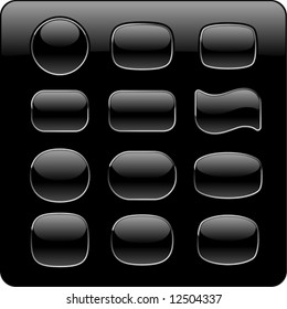 Black glass buttons