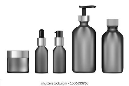 Black glass cosmetic bottle set. Pump dispenser, cream jar template mockup. Skin tonic packaging. Facial concealer, moisturizer product. Matt glass set. Realistic vector package