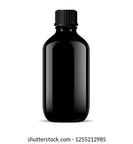 Black glass medical bottle isolated on white. Glass or glossy plastic container for different cosmetic or medical products. 3d realistic vector vial mockup design.