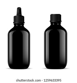 Black Glass Medical Bottles Set. Dropper Mockup. Screw Lid Flask with Pipette for Pharmaceutical Product Syrup, Oil, Nasal Liquid, Essence. Pharmacy Jar Vector 3d Realistic Package Eyedropper Cap.