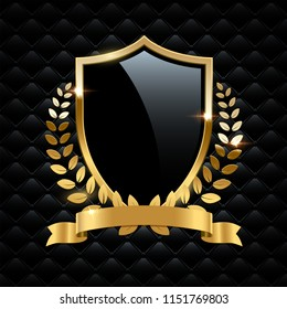 Black glass shield with golden frame, golden laurel wreath and golden ribbon isolated on black background. Vector design element.