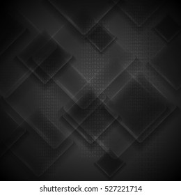 Black glass squares abstract tech design. Vector corporate geometric background with binary code