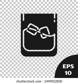 Black Glass of whiskey and ice cubes icon isolated on transparent background.  Vector Illustration