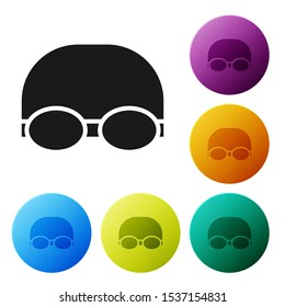 Black Glasses and cap for swimming icon isolated on white background. Swimming cap and goggles. Diving underwater equipment. Set icons colorful circle buttons. Vector Illustration