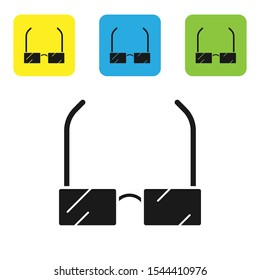 Black Glasses icon isolated on white background. Eyeglass frame symbol. Set of colorful square icon buttons. Vector Illustration