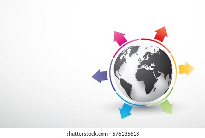 black globe with colored pie chart arrows