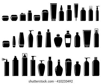 black glossy cosmetics bottle set on white background