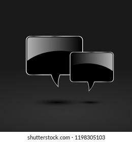 Black glossy glass speech bubbles, stock vector