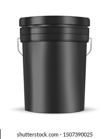 Black glossy metal or plastic bucket with handle isolated on white background, realistic vector mockup illustration. Pail container, template.