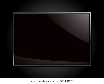 black glossy plaque on a black background