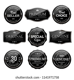 Black glossy sale frame badge and label vector collection