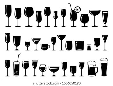 black glossy silhouettes set of glasses for wine, cocktail, beer, liquor, sherry, brandy, margarita cocktail, cognac, champagne, martini, vodka, whiskey