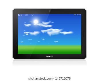 Black glossy tablet computer in horizontal orientation of display, isolated on white. Green grass and blue sky with clouds as screen background.
