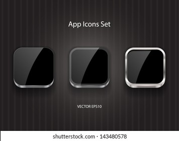 Black glossy vector square app icons