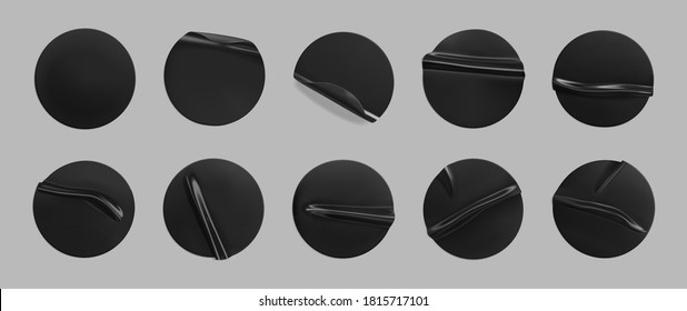 Black glued round crumpled sticker mockup set. Adhesive clear black paper or plastic stickers label with glued, wrinkled effect on grey background. Templates label or price tags. 3d realistic vector