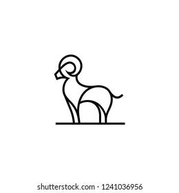 black goat line vector