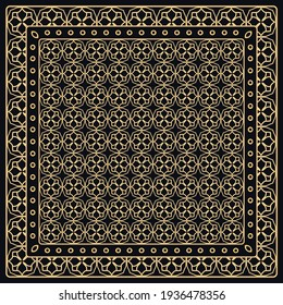 Black and gold abstract graphic pattern. Geometric ornament with frame, border. Line art, lace, embroidery background. Bandanna, shawl, scarf, tablecloth design for textile fabric print