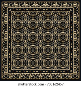 Black and gold abstract graphic pattern. Geometric ornament with frame, border. Line art, lace, embroidary background. Bandanna, shawl, scarf, tablecloth design for textile fabric print