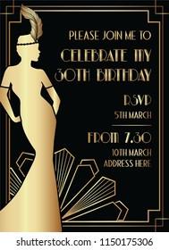 Black and Gold Art Deco Style Birthday Invitation Design