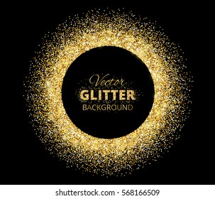 Black and gold background with circle frame and space for text. Vector glitter decoration, golden dust. Great for valentine, christmas and birthday cards, wedding invitation, party posters and flyers.