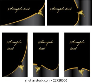 Black gold business card set - vector