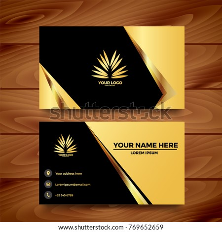 black gold business card template design stock vector royalty free