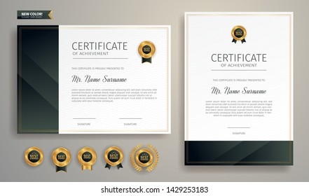 Black and gold certificate of achievement border template with luxury badge and modern line pattern
