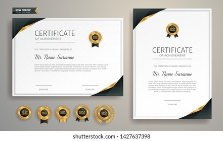 Black and gold certificate of appreciation border template with luxury badge and modern line pattern