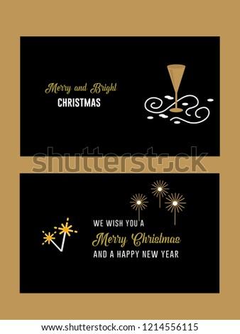 black and gold christmas and new year wishes premium invitation greeting card