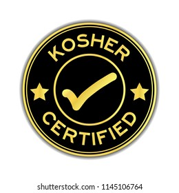 Black and gold color kosher certified word round seal sticker on white background