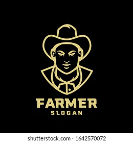 black gold Columbia south america coffee farmer character logo icon design cartoon