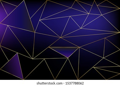Black and gold concept polygonal background. Geometric line golden blue pattern for wallpapers and textile, vector.