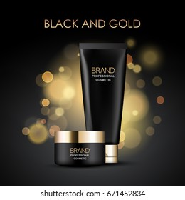 Black and gold cosmetics package template on abstract blurred background, vector design