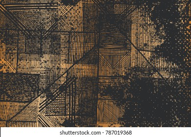 Black and Gold Design. Scratch Abstract Background. Vector illustration