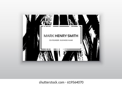 Black and Gold Design Templates for Brochures, Flyers, Mobile Technologies and Online Services. Business card templates with brush stroke background.
