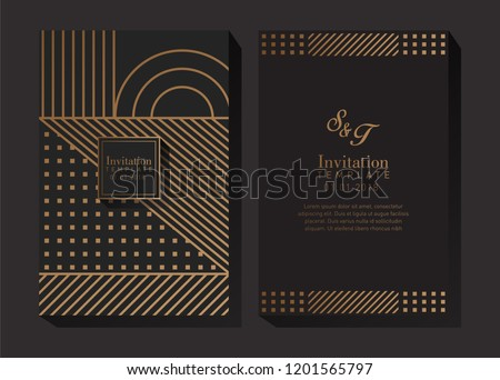 black gold geometric invitation template stock vector royalty free