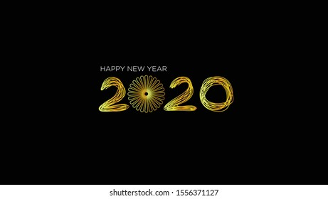 Black and Gold Happy New Year 2020. Vector EPS. 10