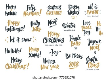 Black and gold holiday greeting quotes and wishes. Hand drawn text, brush lettering. Merry Christmas, Happy New year, Happy Holidays. For cards, gift tags and labels, photo overlays, party posters.