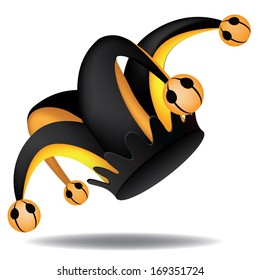 Black and gold Jester's hat. EPS 10 vector, grouped for easy editing. No open shapes or paths.