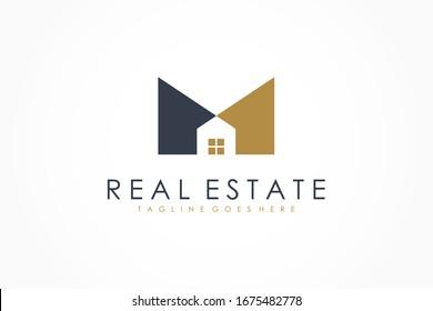 Black Gold Letter M Real Estate Logo. Construction Architecture Building Logo Design Template Element