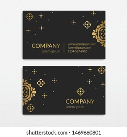 Black and gold luxury business card design. Vector ornament template. Vintage classic elements. Can be used for wallpaper and background. Great for invitation and decoration.